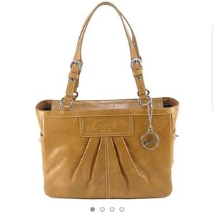 COACH Camel Patent Leather Tote East West …